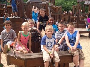 Kindergarten and 4th grade buddies enjoying our time at Hagar Park!