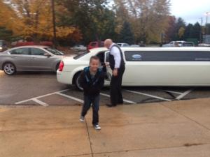 Kaden arriving at Pinewood