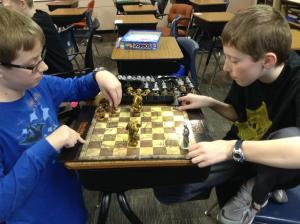6th graders enjoy playing Lord of the Rings Chess!