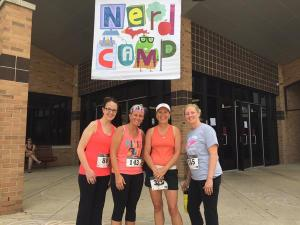 Getting ready to participate in the nerdrun a 5K to help fund literacy camp for kids.